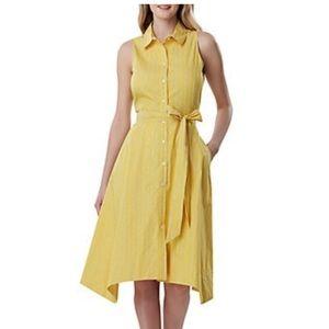Tahari Yellow Shirt Dress Size 4 NWT